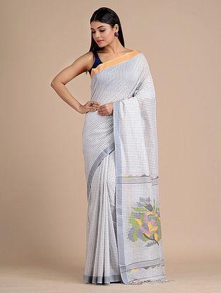 White Handwoven  Cotton Saree