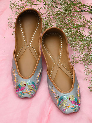 Blue Hand Embroidered Beaded Leather Juttis