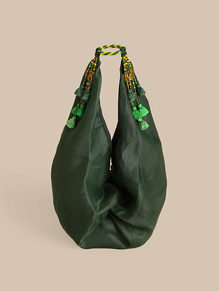 Green Handcrafted Organza Tote Bag