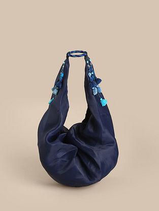 Blue Handcrafted Organza Tote Bag