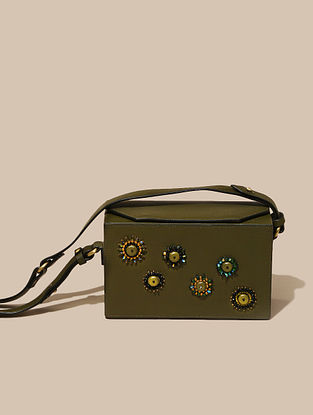 Green Handcrafted Leather Sling Bag