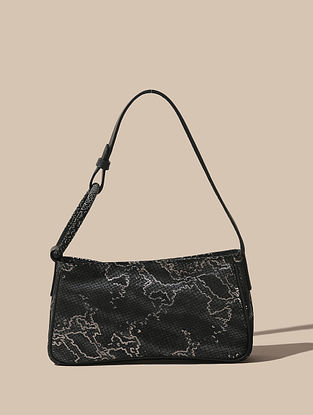 Black Handcrafted Leather Hand Bag