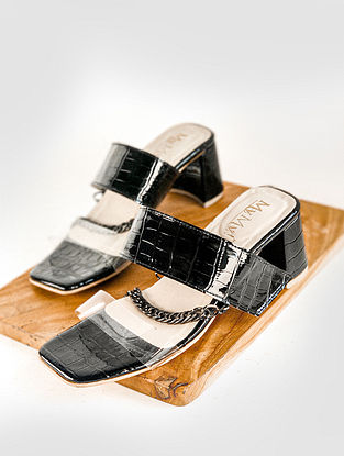 Black Handcrafted PU Block Heels