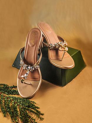 Gold Handcrafted PU Block Heels