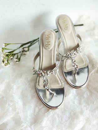 Silver Handcrafted PU Block Heels