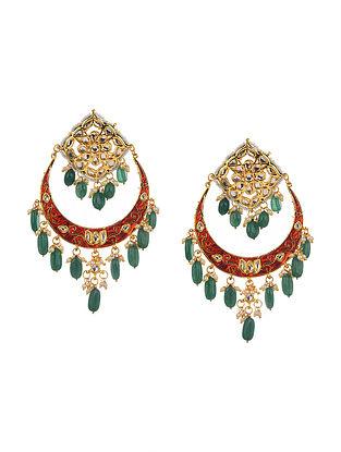 Red Green Gold Tone Kundan Enameled Chandbali Earrings
