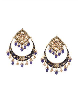 Blue Gold Tone Kundan Enameled Chandbali Earrings