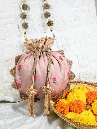 Pink Hand Embroidered Crepe Potli