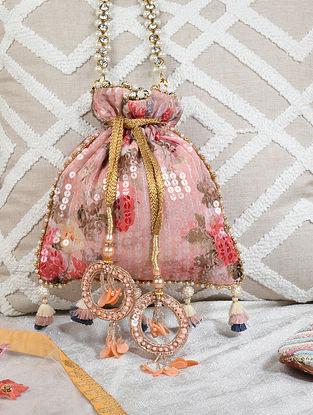 Pink Sequinned Georgette Potli