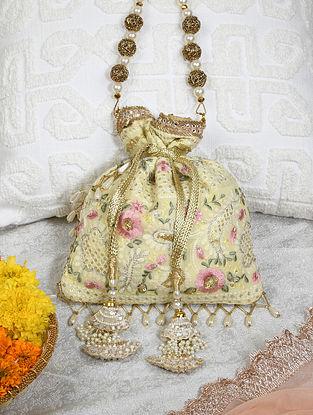 Yellow Handcrafted Chikankari Cotton Potli