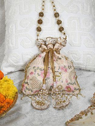 Pink Handcrafted Chikankari Cotton Potli