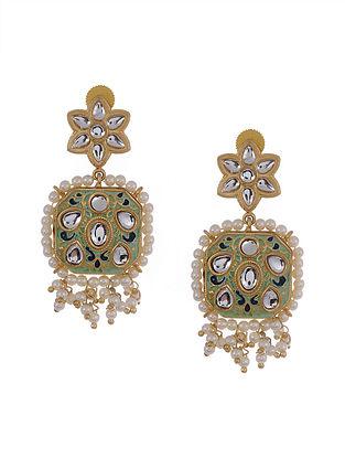 Green Gold Tone Kundan Enameled Earrings