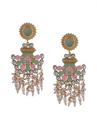 Pink Green Gold Tone Kundan Enameled Earrings