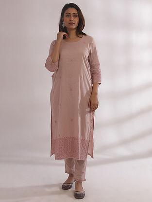 Bagh Nude Pink Chikankari Cotton Kurta