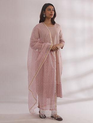 Bagh Nude Pink Chikankari Cotton Kurta with Pants and Dupatta