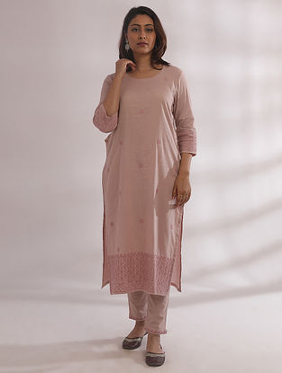 Bagh Nude Pink Chikankari Cotton Kurta with Pants