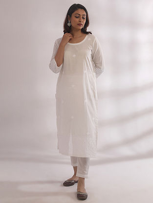 Bagh White Chikankari Cotton Kurta