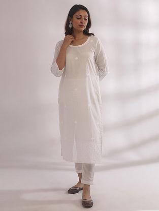 Bagh White Chikankari Cotton Kurta with Pants