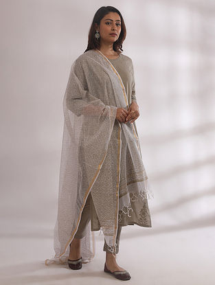 Gul Sage Green Chikankari Cotton Kurta with Pants and Dupatta