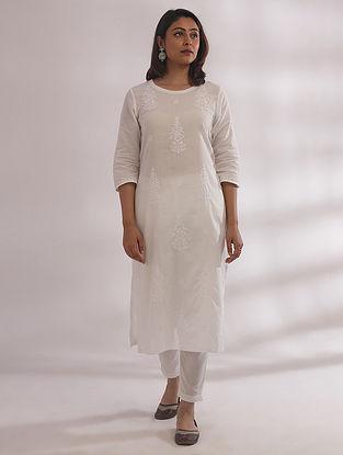 Gul White Chikankari Cotton Kurta
