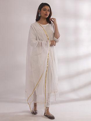 Gul White Chikankari Cotton Kurta with Pants and Dupatta