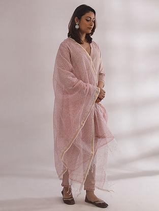 Kali Nude Pink Chikankari Cotton Kurta with Pants and Dupatta