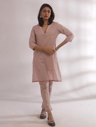 Kali Nude Pink Chikankari Cotton Kurta with Pants