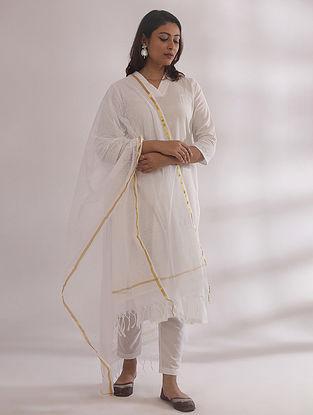 Kali White Chikankari Cotton Kurta with Pants and Dupatta