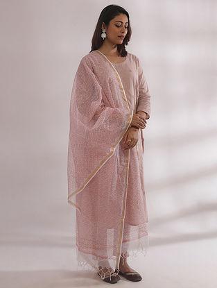 Kyaaree Nude Pink Chikankari Cotton Kurta with Pants and Dupatta