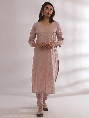 Kyaaree Nude Pink Chikankari Cotton Kurta with Pants