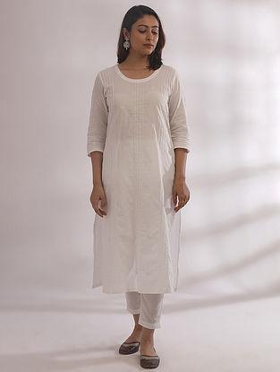 Kyaaree White Cotton Chikankari Kurta
