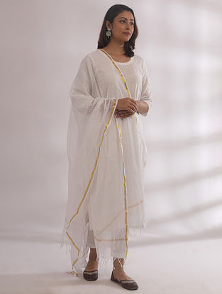 Kyaaree White Chikankari Cotton Kurta with Pants and Dupatta