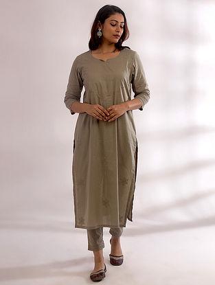 Tarkash Sage Green Chikankari Cotton Kurta with Pants