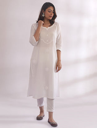 Tarkash White Chikankari Cotton Kurta
