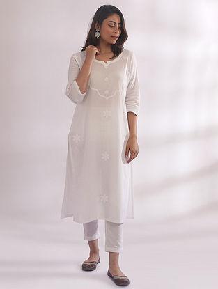 Tarkash White Chikankari Cotton Kurta with Pants