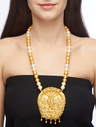 Gold Tone Sterling Silver Necklace with Pearls