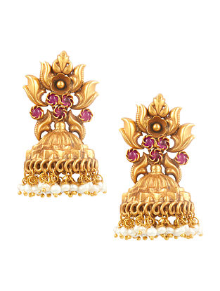 Gold Tone Sterling Silver Jhumki Earrings with Pearls