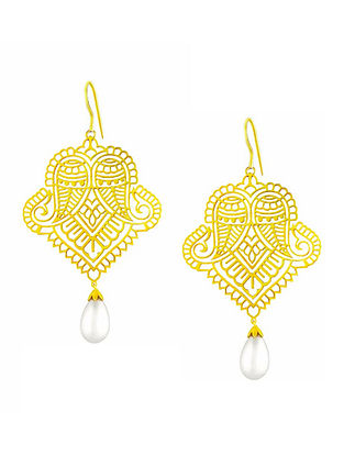 Gold Tone Sterling Silver Earrings with Pearls