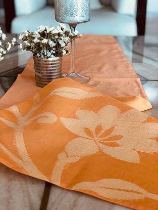 Tangerine Handwoven Banarasi Floral Motif Table Runner (L- 70in x W- 13in)