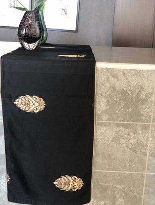 Black Handwoven Chanderi Table Runner (L- 70in x W- 13in)