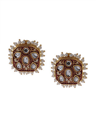 Red Gold Tone Enameled Kundan Earrings With Pearls