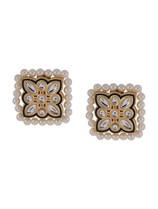 White Gold Tone Kundan Earrings With Pearls