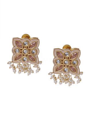 White Gold Tone Kundan Enameled Earrings With Pearls
