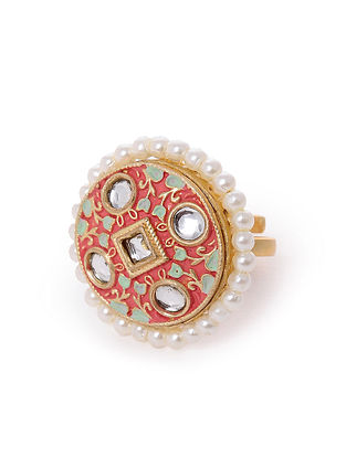 Red Gold Tone Kundan Enameled Adjustable Ring With Pearls