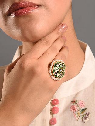 Green Gold Tone Enameled Kundan Adjustable Ring