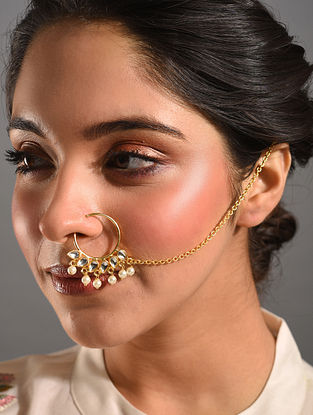 Gold Tone Kundan Nath With Pearls
