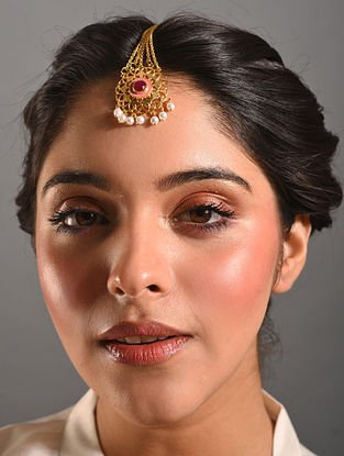 Red Pink Gold Tone Enameled Maangtikka With Pearls