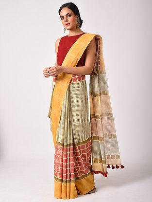 Multicolour Handblock Printed  Cotton Mul Mul Saree With Handmade Tassels