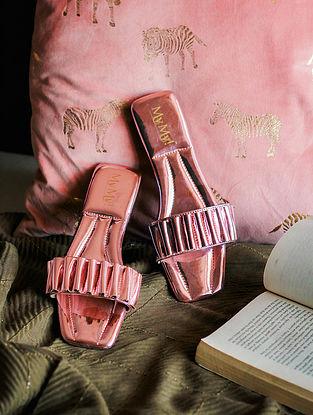 Metallic Pink Handcrafted PU Flats