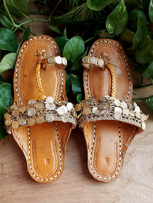 Gold Handcrafted Silk Leather Kolhapuri Flats